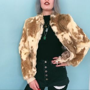 VTG 70s - 80s Rabbit Fur Bomber Jacket
